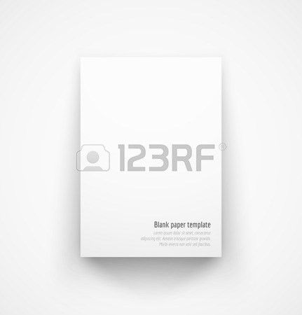 White Paper Template Mock-up With Drop Shadow. Vector Illustration ...