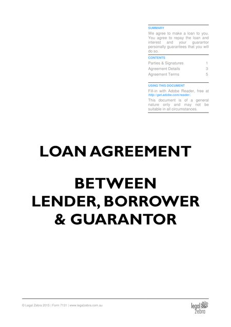Loan Agreement Template | Free Sample | Download DIY Kit - Legal Zebra