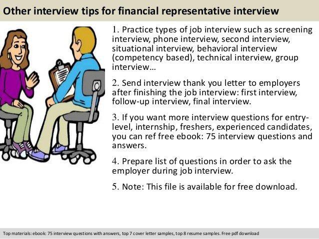 Financial representative interview questions