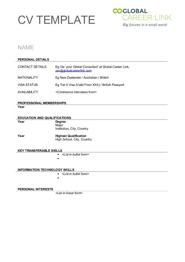 Cv format template free download , Professional Essays Writing ...