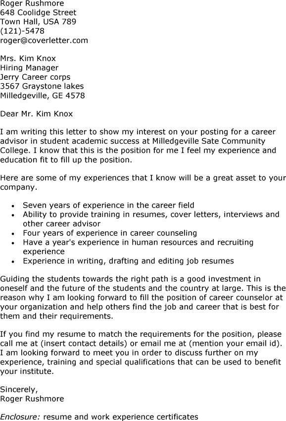 Student Advisor Cover Letter Sample Academic