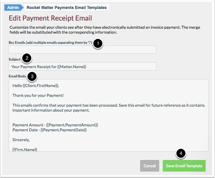 How to edit a Payment Plan receipt email Template | Rocket Matter ...