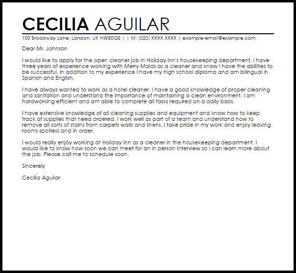 Sample Cover Letter For Cleaning Job #11077
