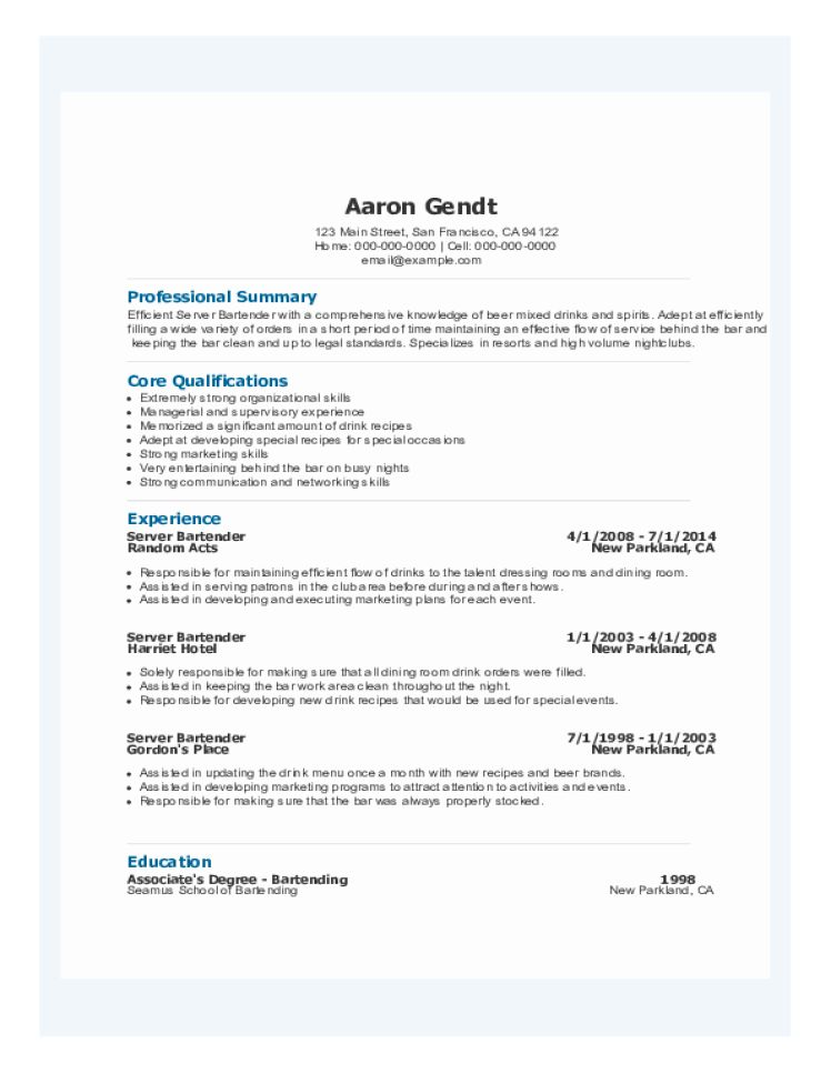 bartender resume examples banquet server resume sample incredible