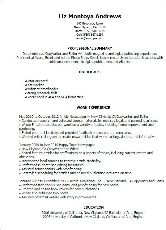 Resume templates copywriters