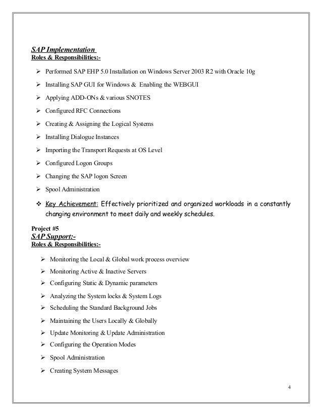 Sample Sap Resume Resume CV Cover Letter