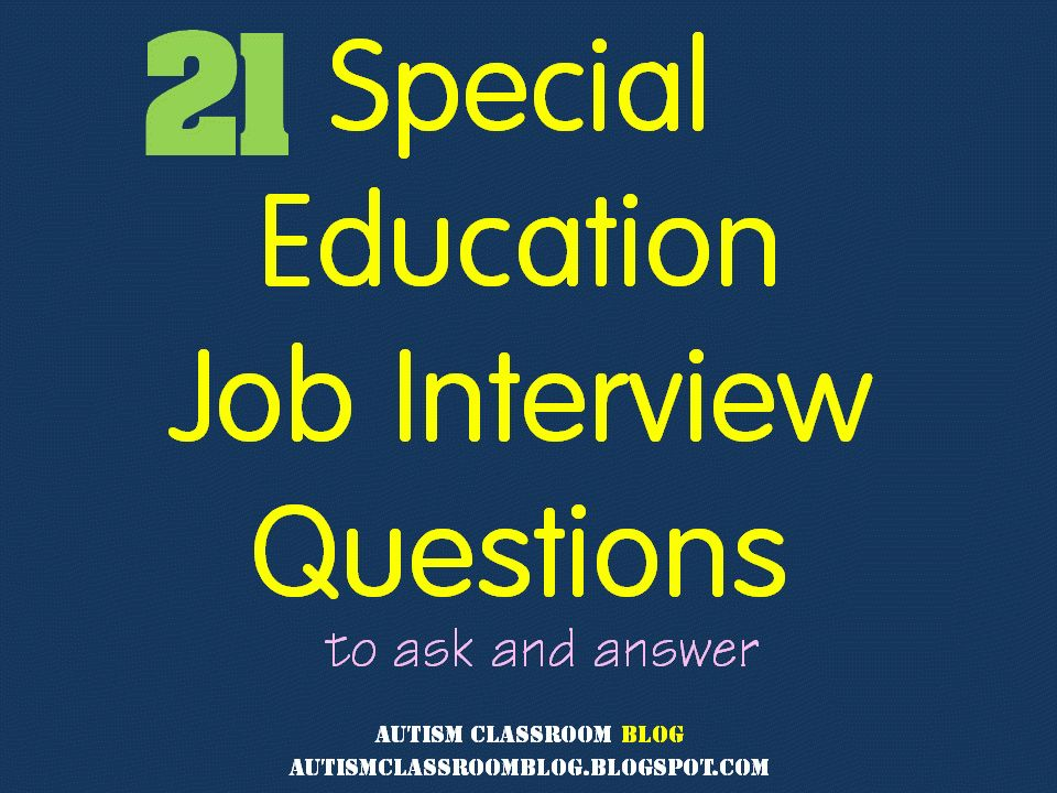 Special Education Job Interview Questions (Source: Autism ...