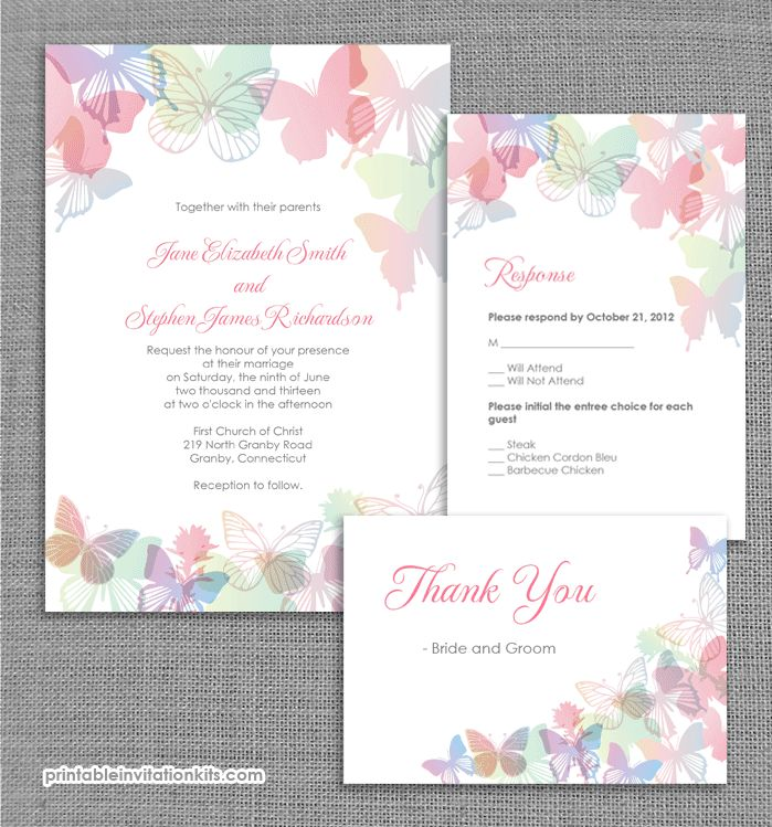 FREE PDF wedding invitation template with editable texts. Vintage ...