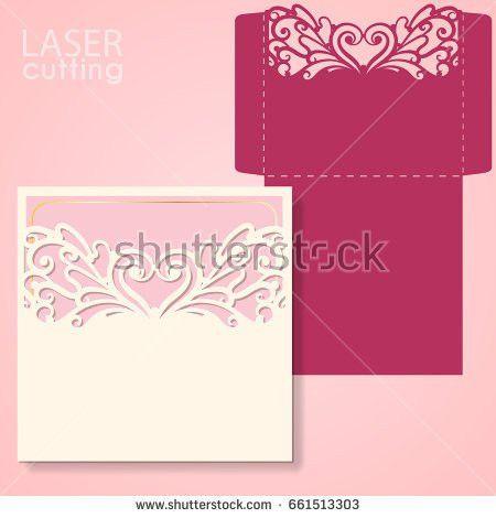 Vector Die Laser Cut Envelope Template Stock Vector 598536857 ...