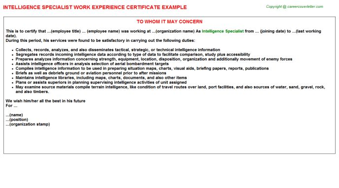 Intelligence Specialist Work Experience Certificate