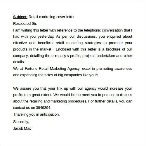 Marketing Cover Letter