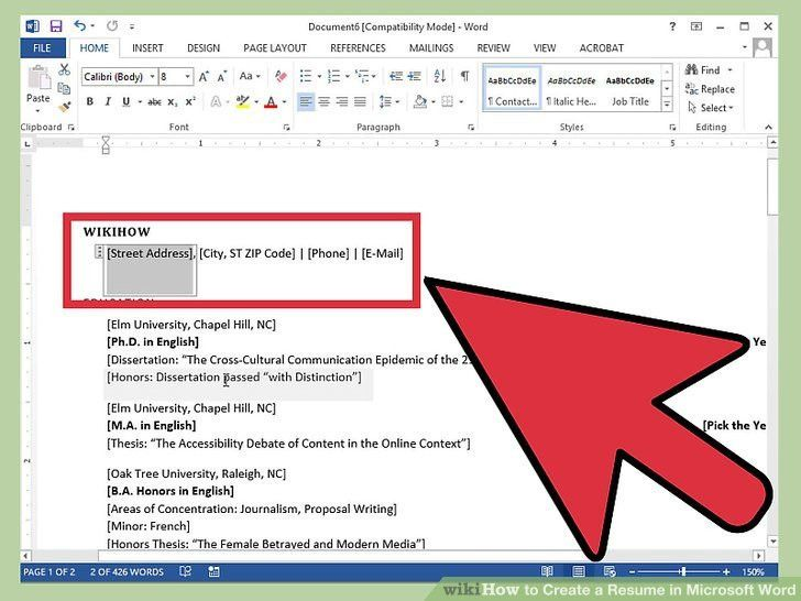 How To Format A Resume In Word. How To Do Resume Format On Word ...