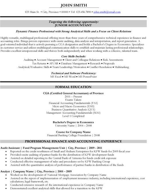 Click Here to Download this Junior Accountant Resume Template ...