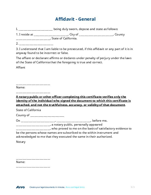 Affidavit - Free General Affidavit Form & Template