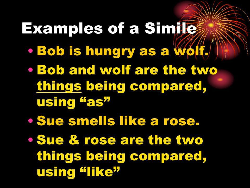 Similes and Metaphors Determine the appropriate meaning of ...