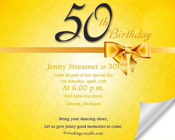 50th Birthday Invitation Wording Samples - Wordings and Messages