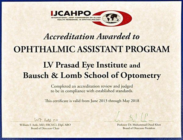Bausch and Lomb School of Optometry - Education - L V Prasad Eye ...