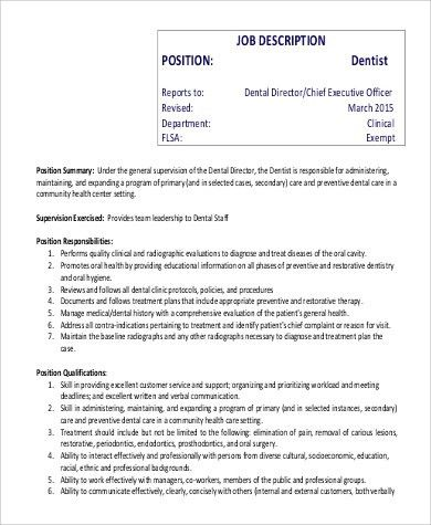 What Is A Dental Assistant Job Description Khafre. Sample Dental .
