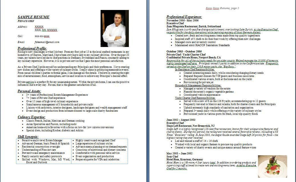 example of chef resume. professional resume cover letter sample ...