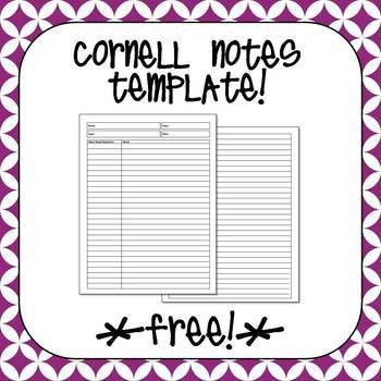 Free Cornell Notes Template | Flippables and Interactive Notebooks ...