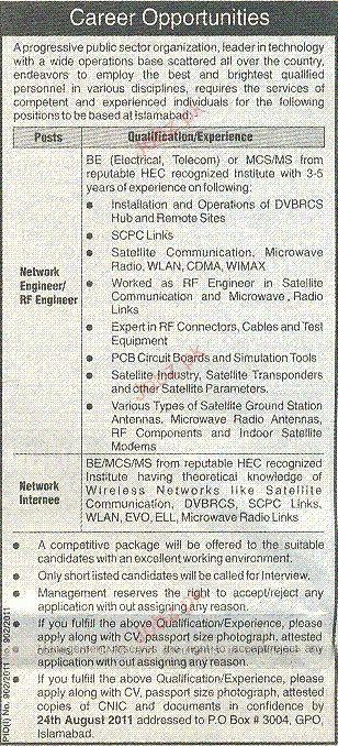 Network Engineer / RF Engineer Job Opportunity 2017 Jobs Pakistan ...