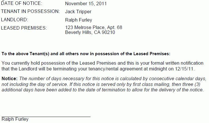 notice letter of lease termination of tenant printable. notice of ...