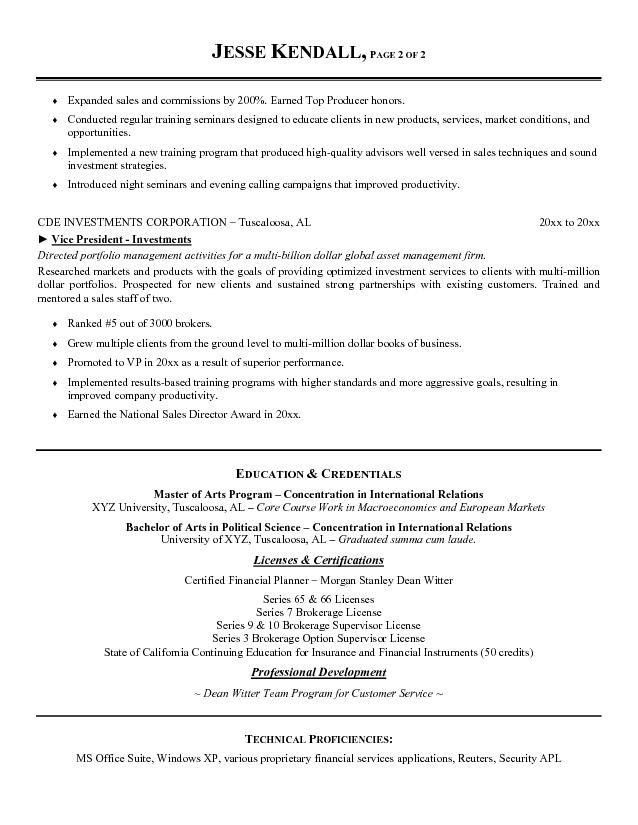Free Vice President of Investments Resume Example