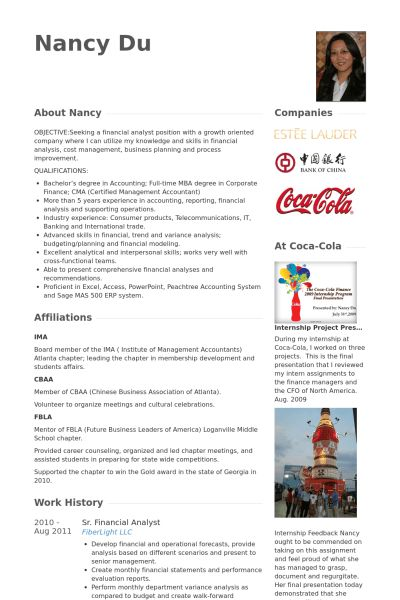 Financial Analyst Resume samples - VisualCV resume samples database