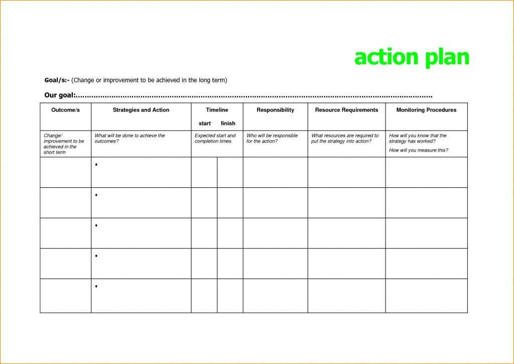 Personal Action Plan Template Simple Free Templates Jpg ...