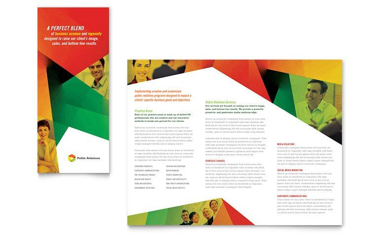 Public Relations Company Tri Fold Brochure Template - Word & Publisher