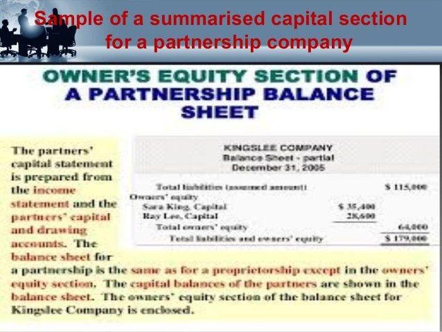 Preparation of balance sheet of partners