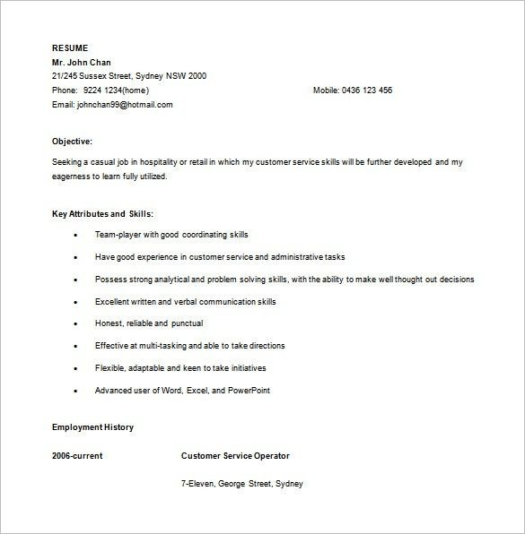 Customer Service Resume Template – 10+ Free Word, Excel, PDF ...