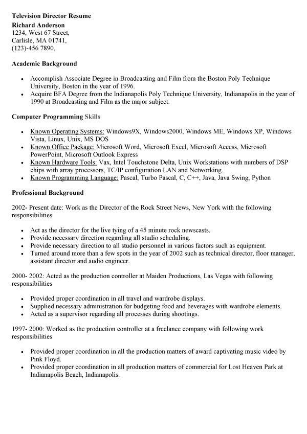 Media broadcasting resume career specific broadcast media resume - television director resume