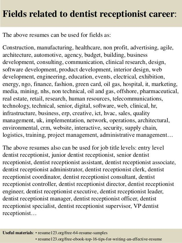 Top 8 dentist receptionist resume samples