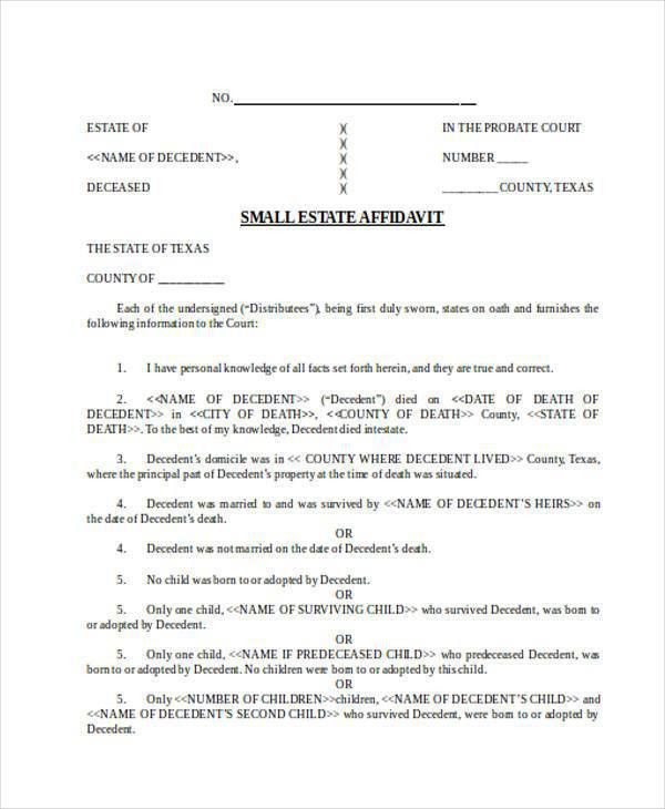 Affidavit Forms in Word