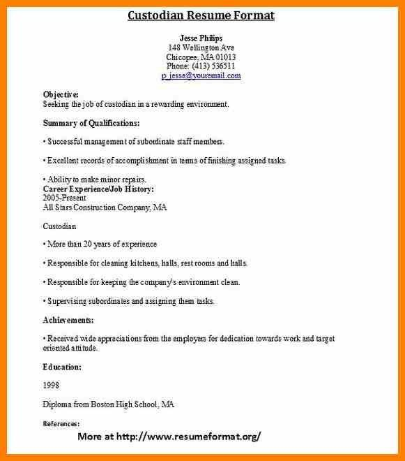 8+ custodian resume | character refence