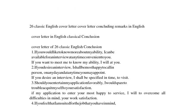 Conclusion for cover letter samples