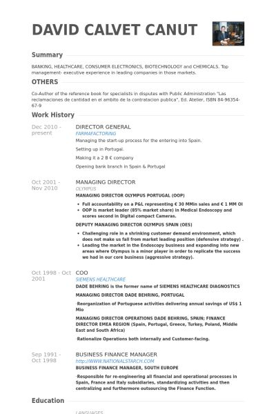 Director General Resume samples - VisualCV resume samples database