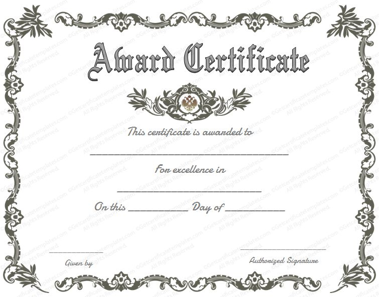 doc-free printable certificate of recognition