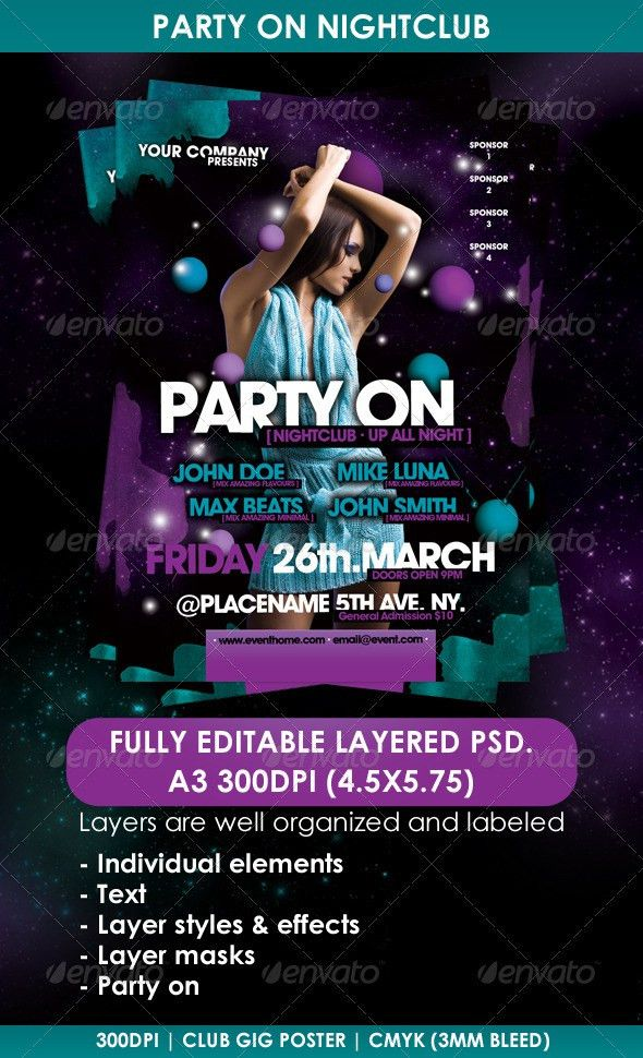 Party On Nightclub Poster Flyer Template | Night Club Fliers