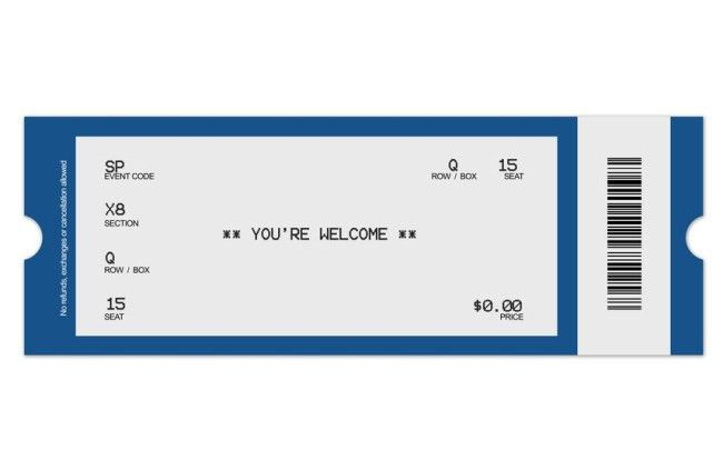 Minimalist Design of Concert Ticket Template with Blue Border ...