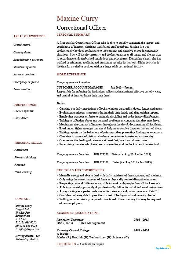 Correctional officer resume, inmates, rules, prisoners, example ...
