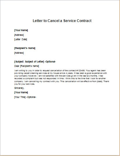 Service Contract Cancellation Letter | writeletter2.com
