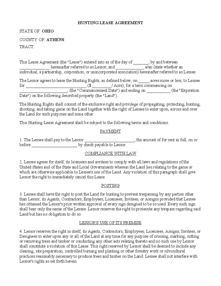 Hunting Rental and Lease Form - Ohio Free Download