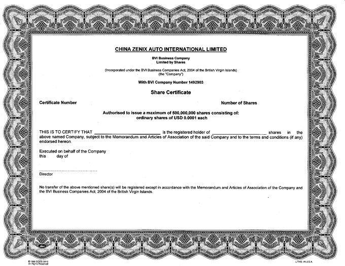 Registrant's Specimen Certificate for Ordinary Shares