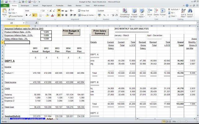 Management Accounts - Departmental model - Accountancy Templates
