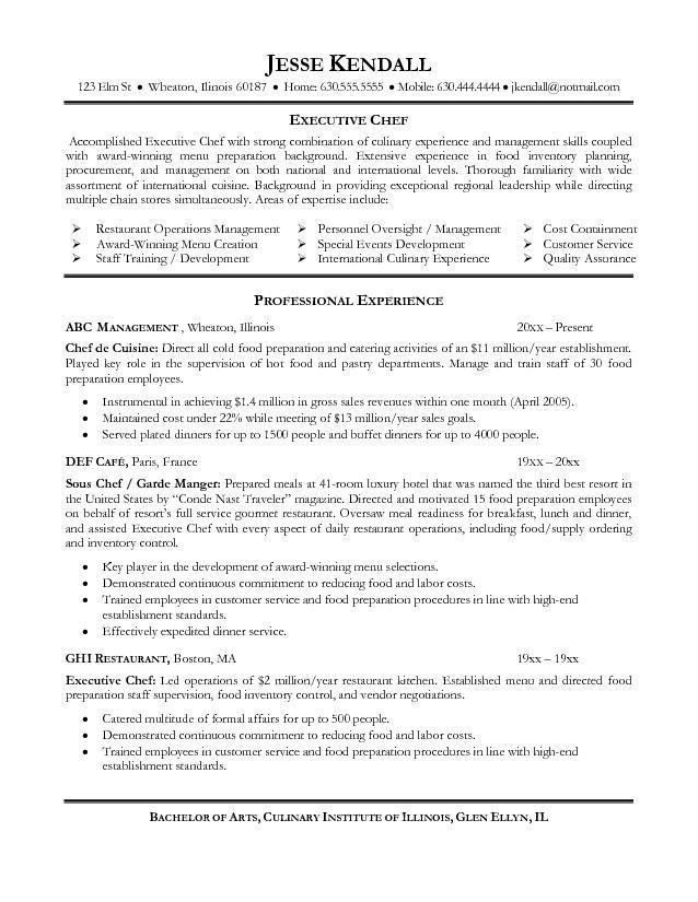 Cook Sample Resume. 25 chef resume examples sample resumes. chef ...