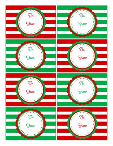 Red & Green Striped Christmas Gift Tag Labels - Label Templates ...