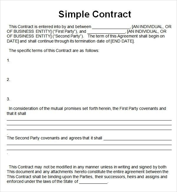Simple Contract Template. Free Download And Edit Business Contract ...