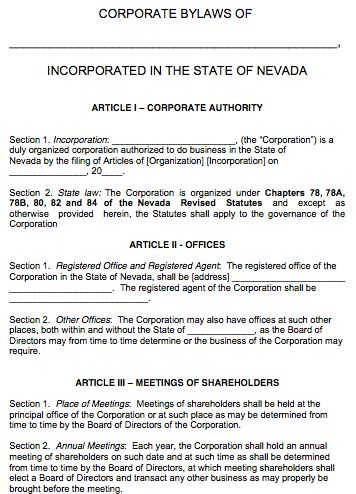 Free Nevada Corporate Bylaws Template | PDF | Word |